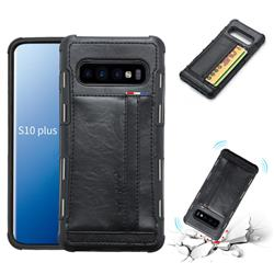 Luxury Shatter-resistant Leather Coated Card Phone Case for Samsung Galaxy S10 Plus(6.4 inch) - Black