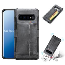 Luxury Shatter-resistant Leather Coated Card Phone Case for Samsung Galaxy S10 Plus(6.4 inch) - Gray