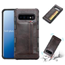 Luxury Shatter-resistant Leather Coated Card Phone Case for Samsung Galaxy S10 Plus(6.4 inch) - Coffee