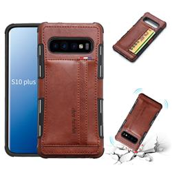 Luxury Shatter-resistant Leather Coated Card Phone Case for Samsung Galaxy S10 Plus(6.4 inch) - Brown