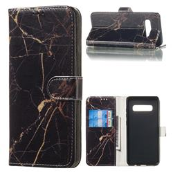 Black Gold Marble PU Leather Wallet Case for Samsung Galaxy S10 Plus(6.4 inch)