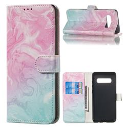 Pink Green Marble PU Leather Wallet Case for Samsung Galaxy S10 Plus(6.4 inch)