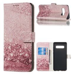 Glittering Rose Gold PU Leather Wallet Case for Samsung Galaxy S10 Plus(6.4 inch)