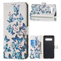 Blue Vivid Butterflies PU Leather Wallet Case for Samsung Galaxy S10 Plus(6.4 inch)
