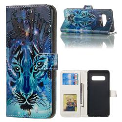 Ice Wolf 3D Relief Oil PU Leather Wallet Case for Samsung Galaxy S10 Plus(6.4 inch)
