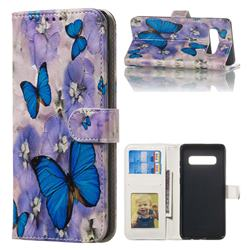 Purple Flowers Butterfly 3D Relief Oil PU Leather Wallet Case for Samsung Galaxy S10 Plus(6.4 inch)