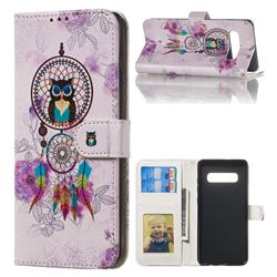 Wind Chimes Owl 3D Relief Oil PU Leather Wallet Case for Samsung Galaxy S10 Plus(6.4 inch)