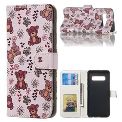 Cute Bear 3D Relief Oil PU Leather Wallet Case for Samsung Galaxy S10 Plus(6.4 inch)