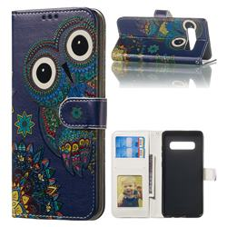 Folk Owl 3D Relief Oil PU Leather Wallet Case for Samsung Galaxy S10 Plus(6.4 inch)
