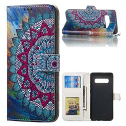 Mandala Flower 3D Relief Oil PU Leather Wallet Case for Samsung Galaxy S10 Plus(6.4 inch)