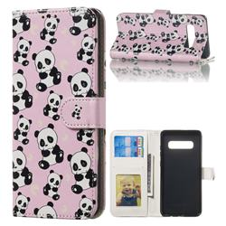 Cute Panda 3D Relief Oil PU Leather Wallet Case for Samsung Galaxy S10 Plus(6.4 inch)