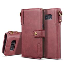 Retro Luxury Cowhide Leather Wallet Case for Samsung Galaxy S10 Plus(6.4 inch) - Wine Red