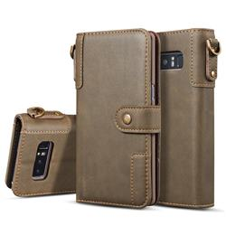 Retro Luxury Cowhide Leather Wallet Case for Samsung Galaxy S10 Plus(6.4 inch) - Coffee