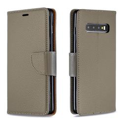 Classic Luxury Litchi Leather Phone Wallet Case for Samsung Galaxy S10 Plus(6.4 inch) - Gray