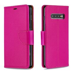 Classic Luxury Litchi Leather Phone Wallet Case for Samsung Galaxy S10 Plus(6.4 inch) - Rose