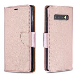 Classic Luxury Litchi Leather Phone Wallet Case for Samsung Galaxy S10 Plus(6.4 inch) - Golden