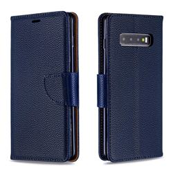 Classic Luxury Litchi Leather Phone Wallet Case for Samsung Galaxy S10 Plus(6.4 inch) - Blue