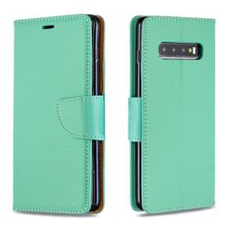 Classic Luxury Litchi Leather Phone Wallet Case for Samsung Galaxy S10 Plus(6.4 inch) - Green