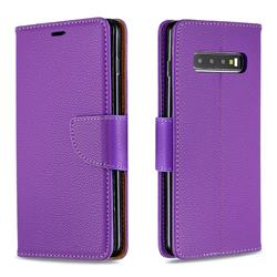 Classic Luxury Litchi Leather Phone Wallet Case for Samsung Galaxy S10 Plus(6.4 inch) - Purple