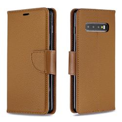 Classic Luxury Litchi Leather Phone Wallet Case for Samsung Galaxy S10 Plus(6.4 inch) - Brown