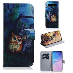 Oil Painting Owl PU Leather Wallet Case for Samsung Galaxy S10 Plus(6.4 inch)