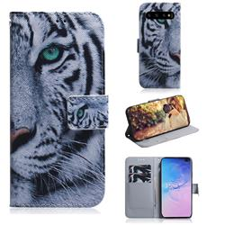 White Tiger PU Leather Wallet Case for Samsung Galaxy S10 Plus(6.4 inch)