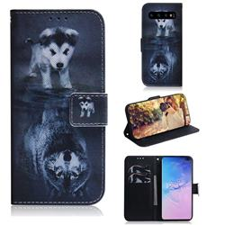 Wolf and Dog PU Leather Wallet Case for Samsung Galaxy S10 Plus(6.4 inch)