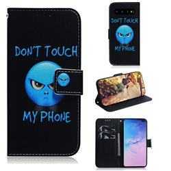 Not Touch My Phone PU Leather Wallet Case for Samsung Galaxy S10 Plus(6.4 inch)