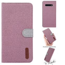 Linen Cloth Pudding Leather Case for Samsung Galaxy S10 Plus(6.4 inch) - Pink
