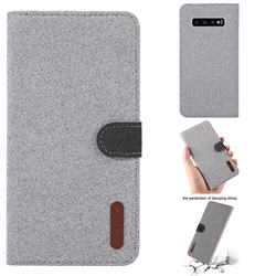 Linen Cloth Pudding Leather Case for Samsung Galaxy S10 Plus(6.4 inch) - Light Gray
