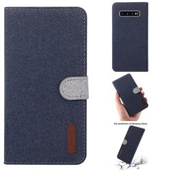 Linen Cloth Pudding Leather Case for Samsung Galaxy S10 Plus(6.4 inch) - Dark Blue
