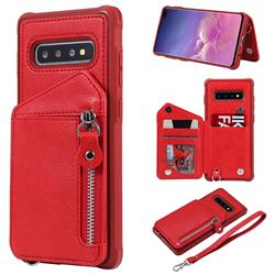 Classic Luxury Buckle Zipper Anti-fall Leather Phone Back Cover for Samsung Galaxy S10 Plus(6.4 inch) - Red