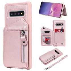 Classic Luxury Buckle Zipper Anti-fall Leather Phone Back Cover for Samsung Galaxy S10 Plus(6.4 inch) - Pink