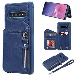 Classic Luxury Buckle Zipper Anti-fall Leather Phone Back Cover for Samsung Galaxy S10 Plus(6.4 inch) - Blue