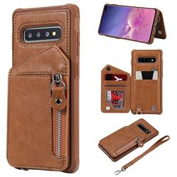 Classic Luxury Buckle Zipper Anti-fall Leather Phone Back Cover for Samsung Galaxy S10 Plus(6.4 inch) - Brown