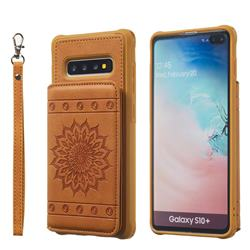Luxury Embossing Sunflower Multifunction Leather Back Cover for Samsung Galaxy S10 Plus(6.4 inch) - Brown