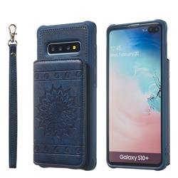 Luxury Embossing Sunflower Multifunction Leather Back Cover for Samsung Galaxy S10 Plus(6.4 inch) - Blue