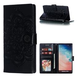 Intricate Embossing Datura Solar Leather Wallet Case for Samsung Galaxy S10 Plus(6.4 inch) - Black