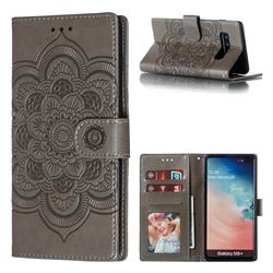 Intricate Embossing Datura Solar Leather Wallet Case for Samsung Galaxy S10 Plus(6.4 inch) - Gray
