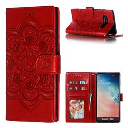Intricate Embossing Datura Solar Leather Wallet Case for Samsung Galaxy S10 Plus(6.4 inch) - Red
