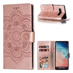 Intricate Embossing Datura Solar Leather Wallet Case for Samsung Galaxy S10 Plus(6.4 inch) - Rose Gold