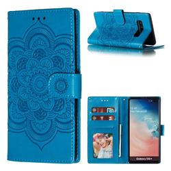 Intricate Embossing Datura Solar Leather Wallet Case for Samsung Galaxy S10 Plus(6.4 inch) - Blue