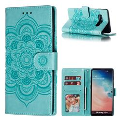 Intricate Embossing Datura Solar Leather Wallet Case for Samsung Galaxy S10 Plus(6.4 inch) - Green