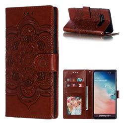 Intricate Embossing Datura Solar Leather Wallet Case for Samsung Galaxy S10 Plus(6.4 inch) - Brown