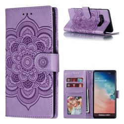 Intricate Embossing Datura Solar Leather Wallet Case for Samsung Galaxy S10 Plus(6.4 inch) - Purple