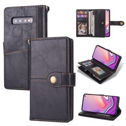 Retro Luxury Multipurpose Purse Phone Case for Samsung Galaxy S10 Plus(6.4 inch) - Black