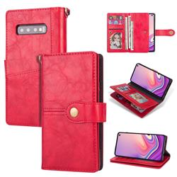 Retro Luxury Multipurpose Purse Phone Case for Samsung Galaxy S10 Plus(6.4 inch) - Red