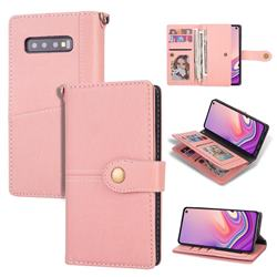 Retro Luxury Multipurpose Purse Phone Case for Samsung Galaxy S10 Plus(6.4 inch) - Pink