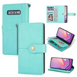 Retro Luxury Multipurpose Purse Phone Case for Samsung Galaxy S10 Plus(6.4 inch) - Mint Green