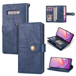 Retro Luxury Multipurpose Purse Phone Case for Samsung Galaxy S10 Plus(6.4 inch) - Blue